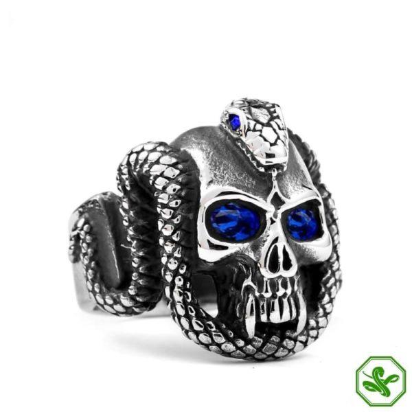 Gothic Snake Ring blue Eyes