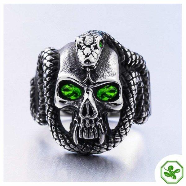 Gothic Snake Ring Green Eyes