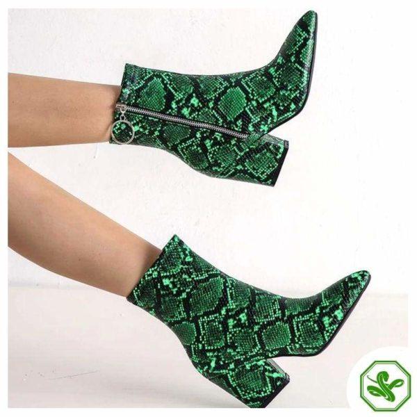 Green Snake Print Boots 2