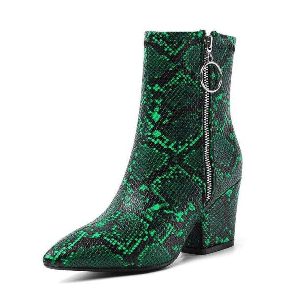 Green Snake Print Boots 1