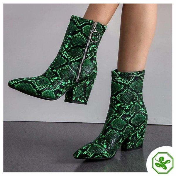 Green Snake Print Boots 3