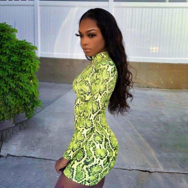 Green Snake Print Dress 1