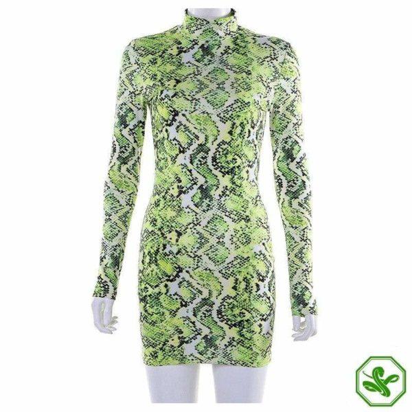 Green Snake Print Dress 3