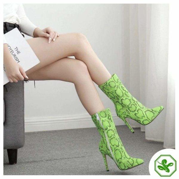 green snakeskin boots for women