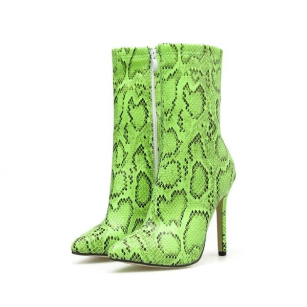 green snakeskin boots
