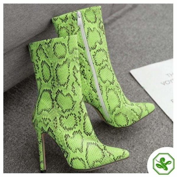 lime green snakeskin thigh high boots
