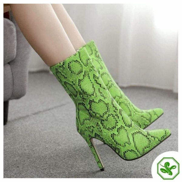 green snakeskin ankle boots