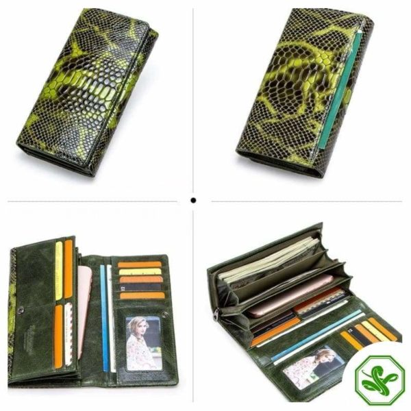 Green Snakeskin Wallet for Woman