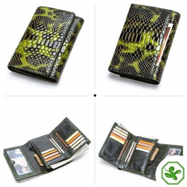 Green Snakeskin Wallet Women's