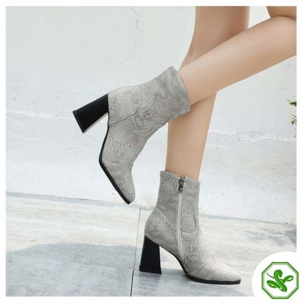 Grey Snake Ankle Boots 3