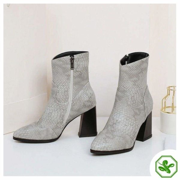 Grey Snake Ankle Boots 5