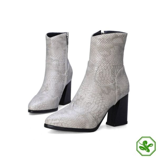 Grey Snake Ankle Boots 6