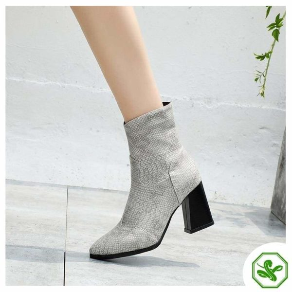 Grey Snake Ankle Boots 4
