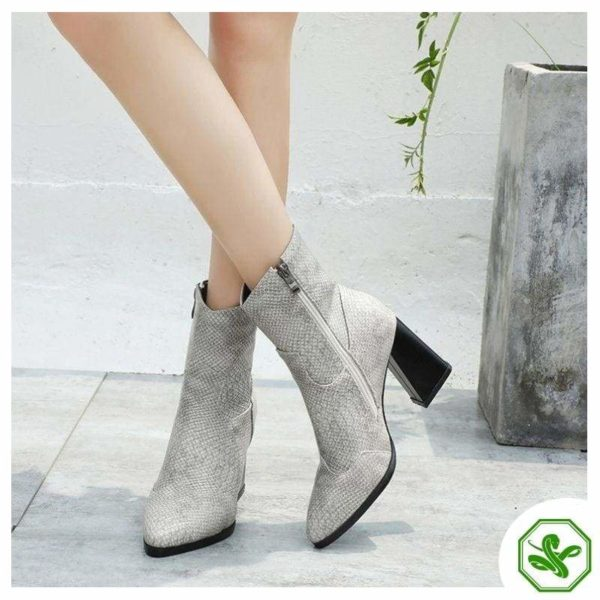 Grey Snake Ankle Boots 2