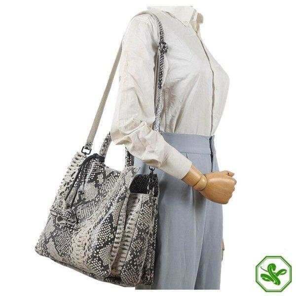 Grey Snake Print Bag 3
