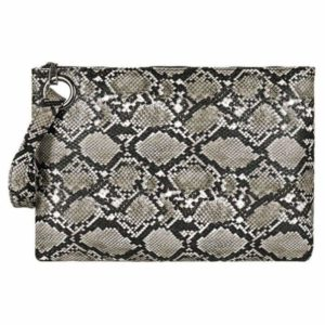 Grey Snake Print Clutch bag