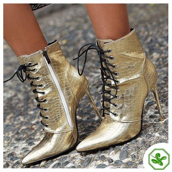woman gold boots