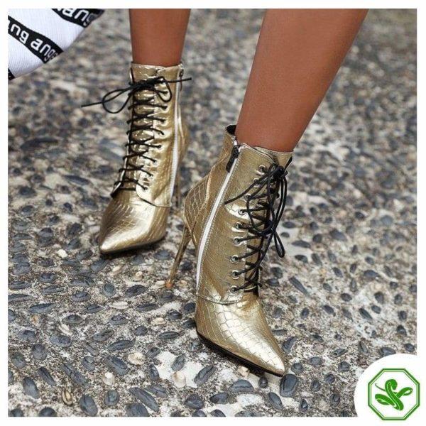 woman golden boots