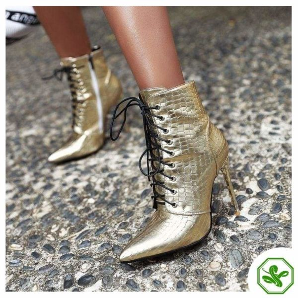 gold booties woman