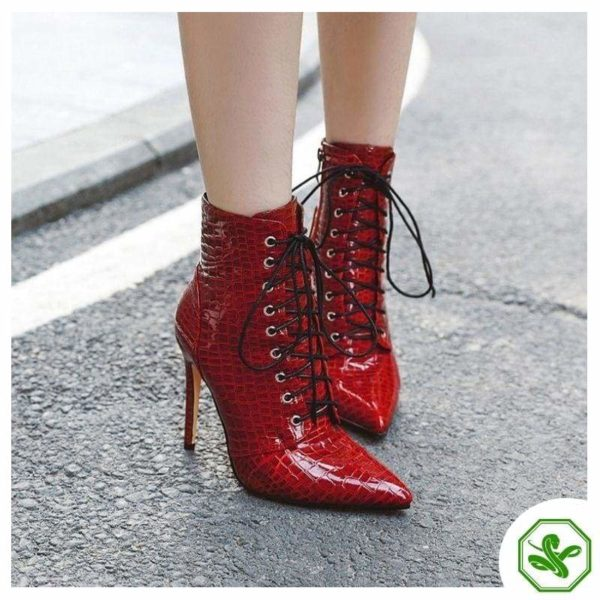 red shiny boots woman