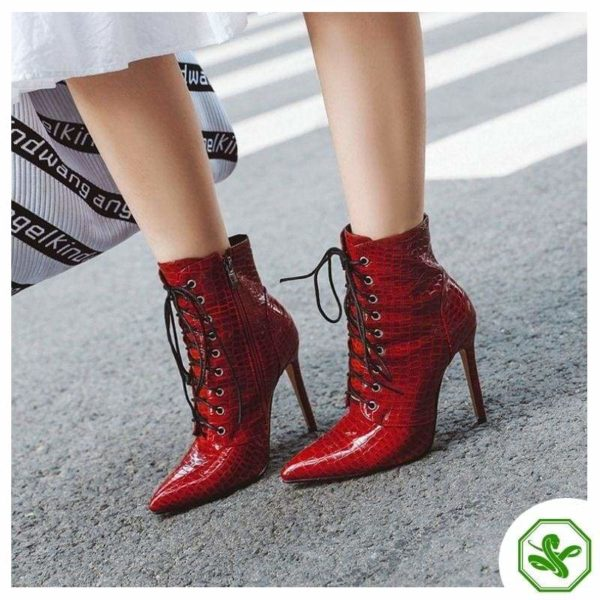 shiny red snake boots