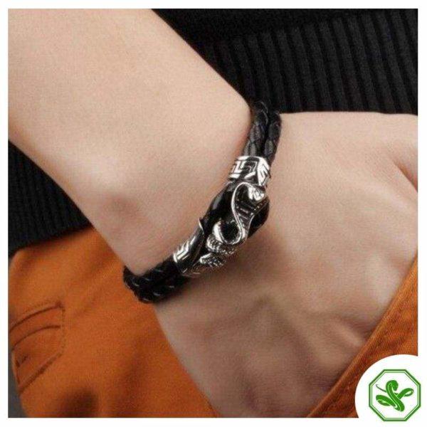 snake leather bracelet on men