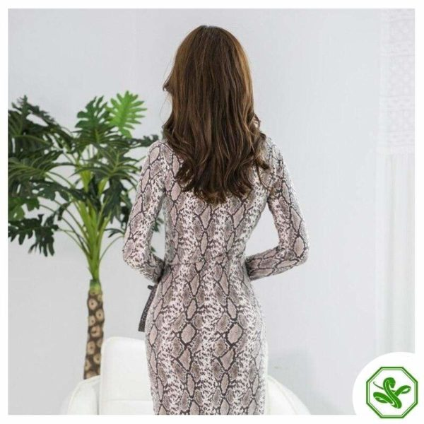 Long Sleeve Snake Print Dress 4