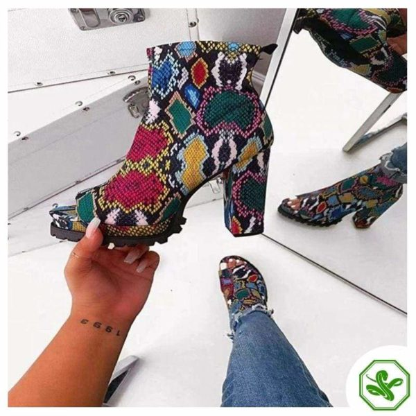 snakeskin boots multicolored