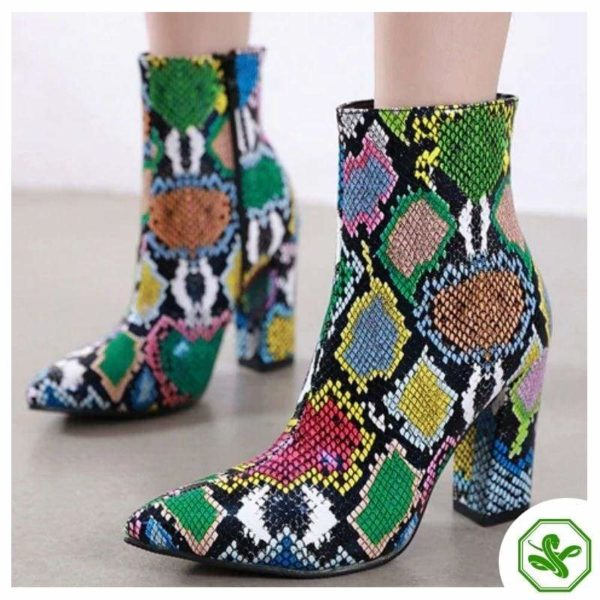 multicolor snakeskin thigh high boots