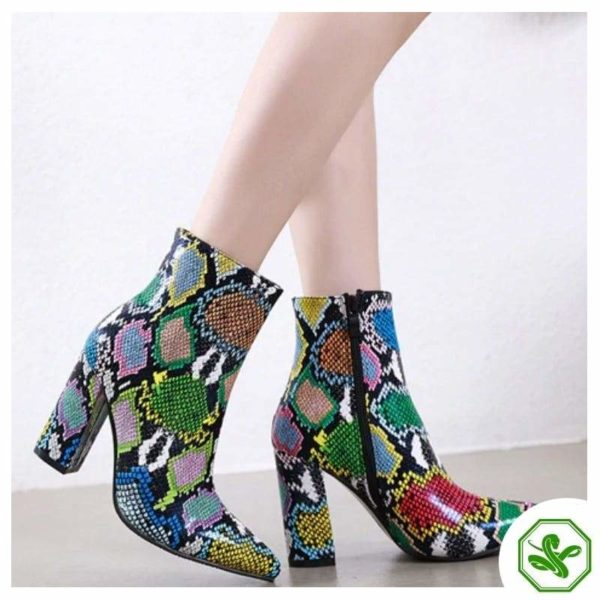 woman multicolor snakeskin boots