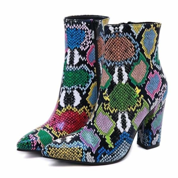 multicolor snakeskin boots