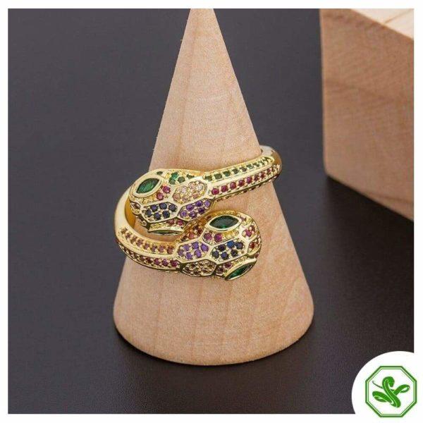 multicolor snake ring green eyes