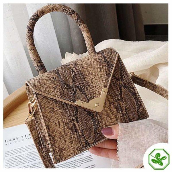 khaki python print handbag for women
