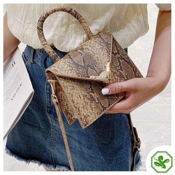 women's khaki python print handbag
