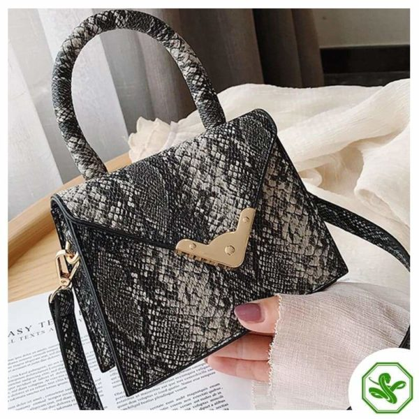 black python print handbag for women