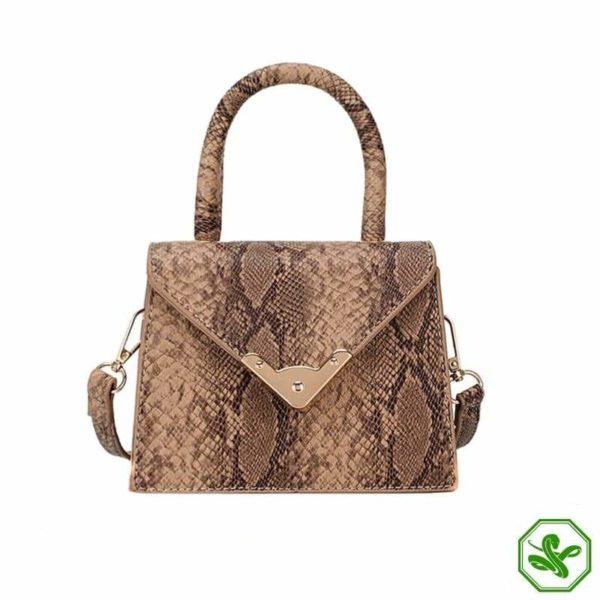 khaki python print handbag
