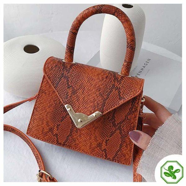 women's orange print handbag