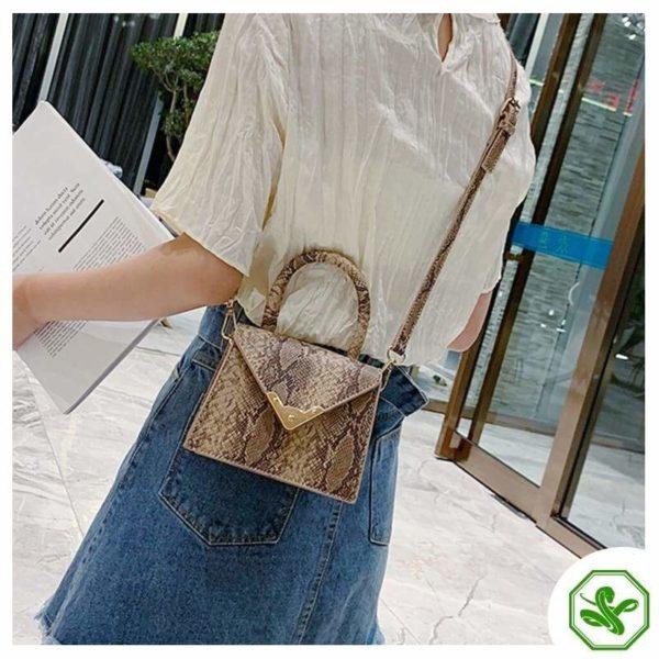 khaki python print handbag for woman