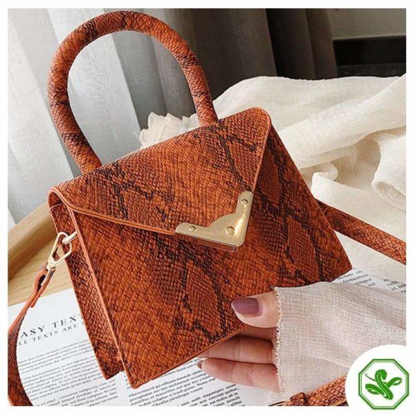 orange print handbag for woman