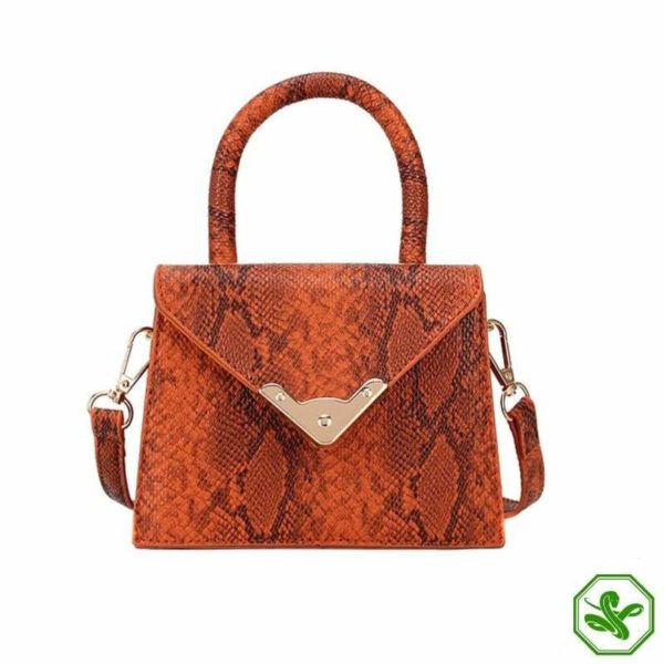 orange print handbag