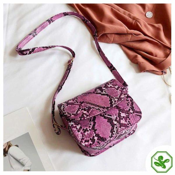 Women's Pink Python Snakeskin Handbag