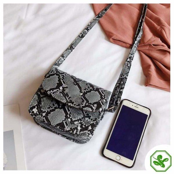Woman Gray Python Snakeskin Handbag