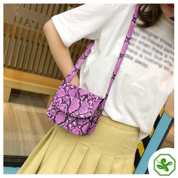 Pink Python Snakeskin Handbag Women