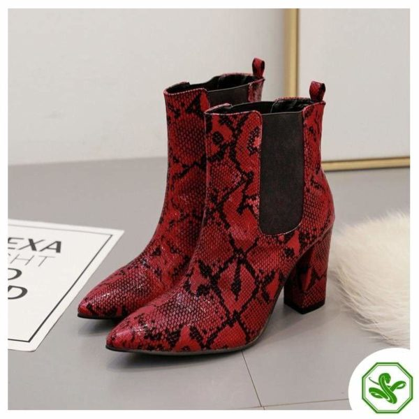 Red Snake Print Ankle Boots 2