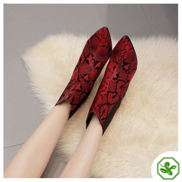 Red Snake Print Ankle Boots 3