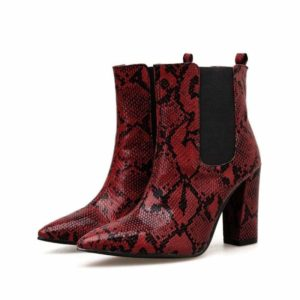 Red Snake Print Ankle Boots 1
