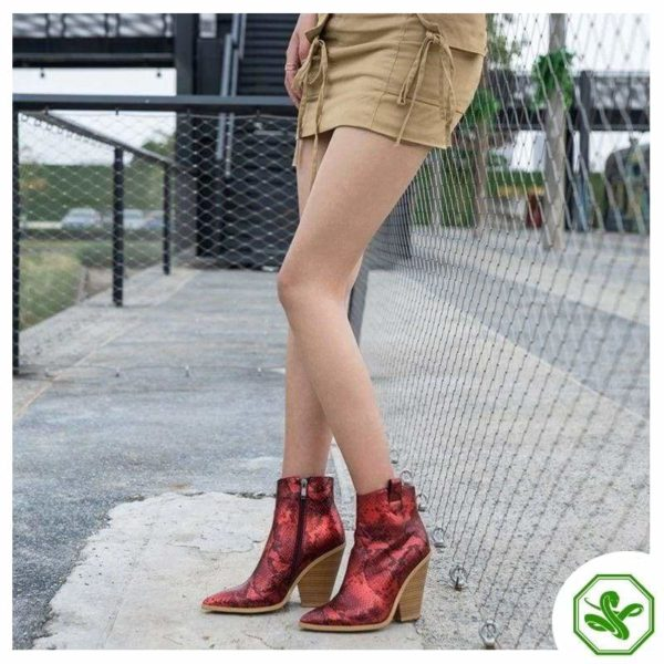 Red Snake Print Boots 3