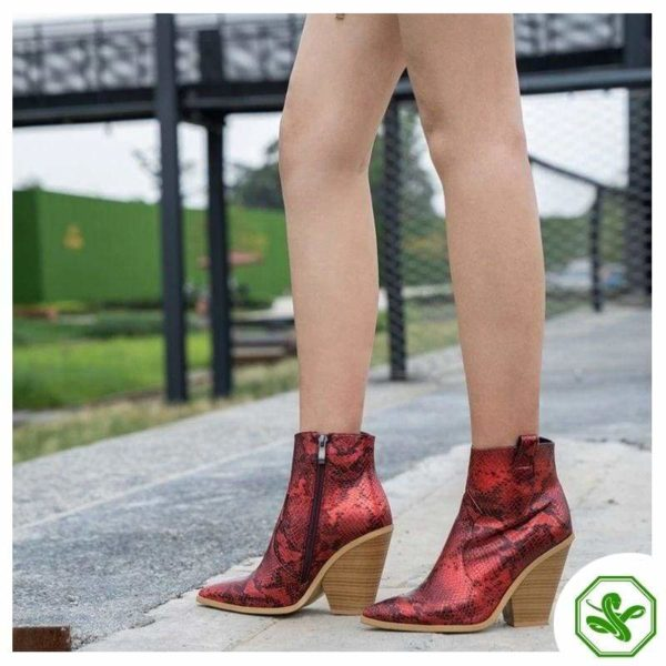 Red Snake Print Boots 2