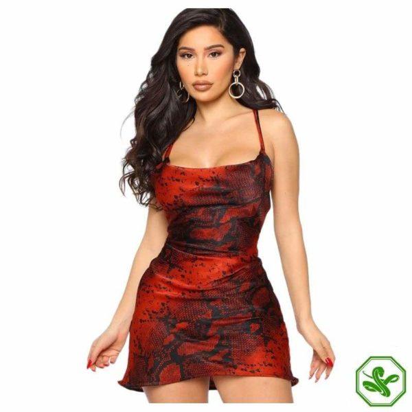 Red Snake Print Dress 2