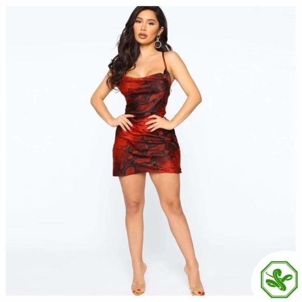 Red Snake Print Dress 4